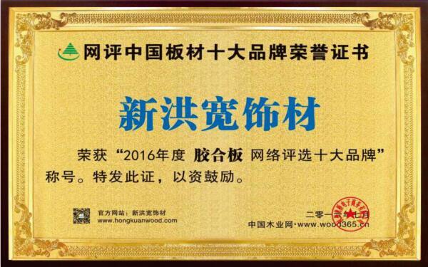 网评中国板材十大品牌荣誉证书